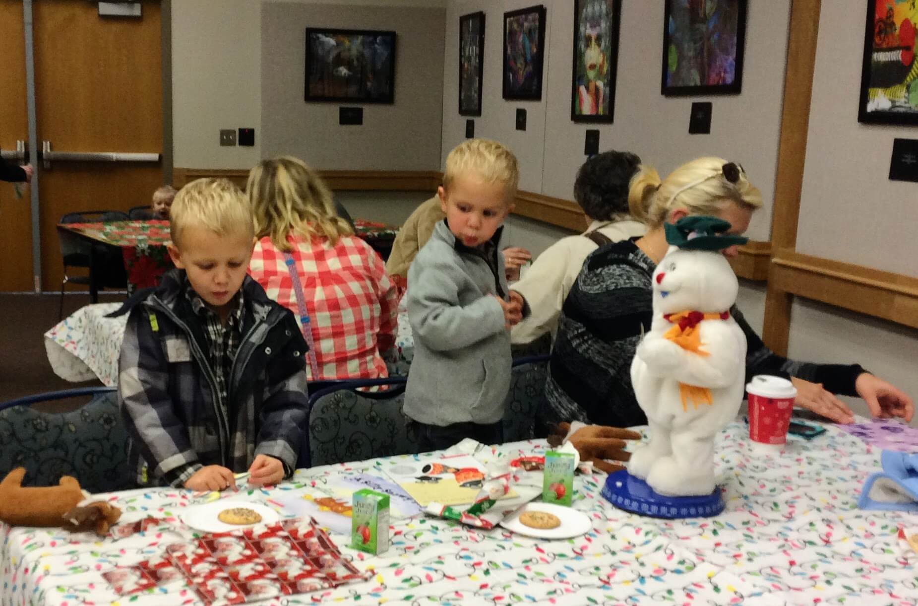 Families enjoyed cookies and juice after their visit with Santa